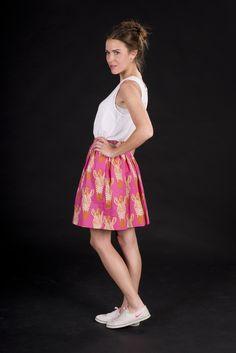 Taillenröcke - ZEBRA, pink / orange, taillierter Rock, Baumwolle - ein Designerstück von brittamanger bei DaWanda