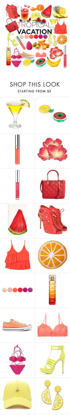 """tropical fruits"" by que2001 ❤ liked on Polyvore featuring Chantecaille, Forever 21, Kate Spade, Jimmy Choo, MANGO, Nordstrom Rack, Deborah Lippmann, HUGO, Converse and Charlotte Russe"