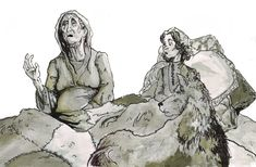 Bran, Summer and the old Nan GAME OF THRONES by MarcoCalosci.deviantart.com