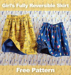 A free sewing pattern for a skirt for little girls that's fully reversible from Pink Castle Fabrics