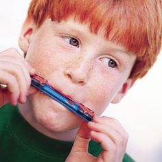 THIS IS A GREAT PROJECT!!!  Wooden Harmonicas:  Decorate one side of each tongue depressor  (avoid markers or paint, which may come off on kids' lips).  Make the paper sliders by cutting 2 strips of paper about the same width and length as a tongue depressor. Stack the tongue depressors together, wrap each paper strip around the stack, then cover each loop with a layer of clear tape.  Remove the sliders from the stack, separate the tongue depressors, and slide the sliders back onto just…
