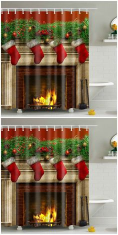 Christmas Hanging Stocking Polyester Waterproof Shower Curtain