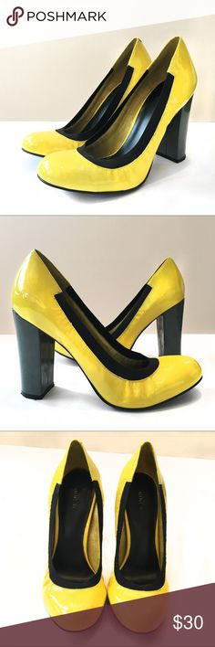 Yellow Nine West Pumps Yellow pumps with a grey chunky heel. Elastic around the side of the shoe for a perfect fit! Great condition!  Nine West Shoes Heels