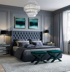 modern and simple bedroom design ideas 10 Classic Bedroom Decor, Home Decor Bedroom, Modern Bedroom, Bedroom Curtains, Bedroom Black, Bedroom Vintage, Classic Bed Room, Grey Wall Bedroom, Glass Bedroom Furniture