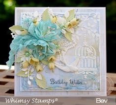 Handmade Teal Shabby Chic card with handmade Foam Flowers by Bev Rochester