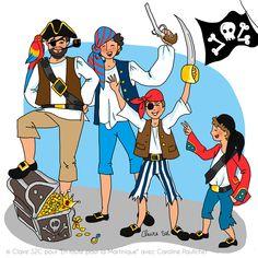 """Illustration de Claire S2C tirée du livre """"En route pour la Martinique"""" de Caroline Paufichet. Illustrations, Donald Duck, Pirates, Disney Characters, Fictional Characters, Youth, Illustration, Fantasy Characters, Illustrators"""