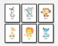 Printable Jungle Animals Nursery Art, Animals Nursery Decor, Lion Giraffe Elephant Monkey Rhino Zebra Nursery Art, Set of 6 Instant Download