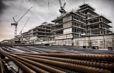 East London Construction Site with scafolding and rebar in the foreground