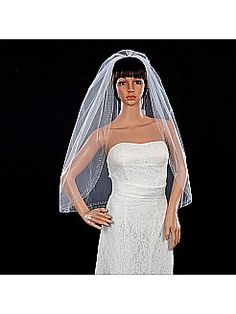 White 1 Tier Elbow Length Wedding Veil with Comb and Beading Hem - USD $39.99