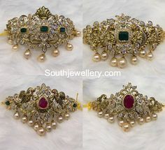 2 in 1 Choker Plus Armlet Designs - Indian Jewellery Designs Buy Jewellery Online, Latest Jewellery, Gold Earrings Designs, Gold Jewellery Design, Indian Wedding Jewelry, India Jewelry, Fashion Jewelry, Choker, Gold Bangles