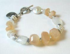 Peach Moonstone Bracelet Rainbow Moonstone