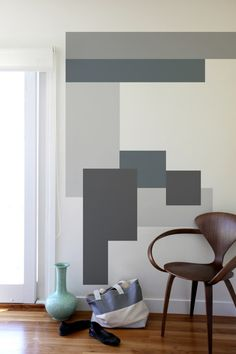 Geometric wall paint - 40 Easy DIY Wall Painting Ideas For Complete Luxurious Feel – Geometric wall paint Colour Blocking Interior, Color Blocking, Geometric Wall Paint, Modern Wall Paint, Modern Wall Decals, Geometric Decor, Geometric Patterns, Graphic Patterns, Geometric Shapes