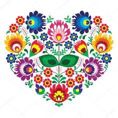Polský olk umění umění srdce výšivka s květinami - wzory lowickie — Stocková ilustrace