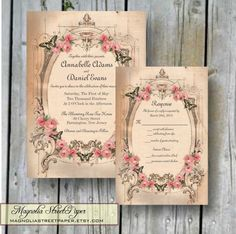 Printable Wedding Invitation, Vintage Pink Roses, Rustic Invitation, Roses and Butterflies, Includes RSVP, Wedding Suite, Template