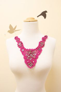 Fuchsia, Hot Pink Beaded Cotton Crochet Applique // Hand Dyed Cotton Applique