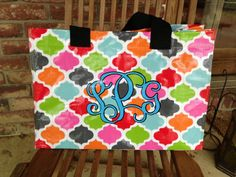 Monogrammed/Personalized Multi Colored Geo (Quatrefoil) Tote