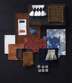 Brush Strokes: Inspired by a scene from an artist's studio, we take burnt orange, crisp white and a hint of azure in a host of textures to bring depth and warmth to a scheme. Homes & Gardens, February 2015, Palette Moodboard, Photograph Carolyn Barber, Styling Harriet Lorraine-Smith