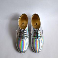 En miroir les végétalien holographique en faux cuir poney oxford chaussures (Handmade pour commander)