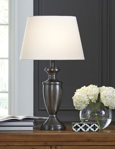 L204034 Ander by Ashley Metal Table Lamp Set of 2 Black Traditional