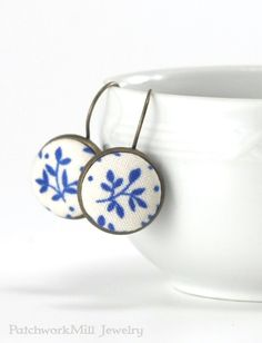 Antique Drop Earrings Blue Twigs Romantic Fabric Covered Buttons Jewelry Leverback Bridal Earring Vintage Wedding Jewelry Christmas Gift by PatchworkMillJewelry