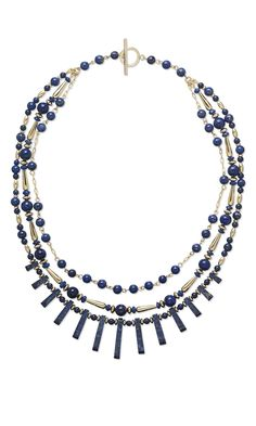 Jewelry Design - Triple-Strand Necklace with Lapis Lazuli Gemstone Beads and Gold-Filled Beads - Fire Mountain Gems and Beads