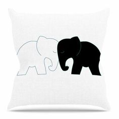 """East Urban Home Elephant Love by NL Designs Throw Pillow Size: 26"""" H x 26"""" W x 4"""" D"""