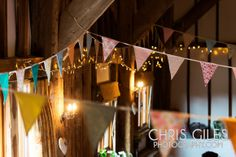 THIS IS EXACTLY WHAT I WANT! vintage wedding bunting in a barn