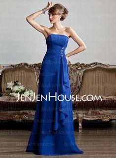 A-Line/Princess Strapless Floor-Length Chiffon Evening Dress With Ruffle Beading (017013808) - JenJenHouse