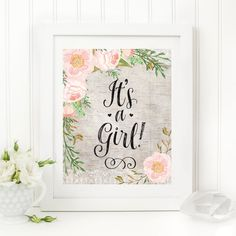 It's A Girl Printable 8x10 Baby Shower Table Sign Rustic Floral Baby Shower Sign Birch Wood Watercolor Pink Floral Shower Decor Girl Shower by MossAndTwigPrints on Etsy