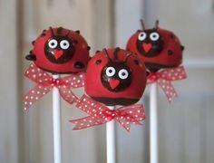 Mom's Killer Cake Pops Ladybug Lady Bug Picnic Cake Pops on Etsy, $42.50