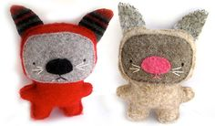 Sweater kittens! Made of recycled wool sweaters, hand sewn, one of a kind!