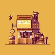 Cyberpunk Post Office Canvas Print by brandonjamesdesigns How To Pixel Art, Arte 8 Bits, Office Canvas, Pixel Art Background, Framed Art Prints, Canvas Prints, 3d Pixel, Pixel Drawing, Anime Pixel Art