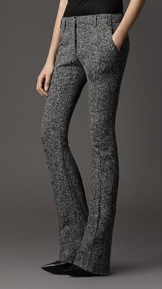 Burberry - STRETCH TWEED FLARED TROUSERS