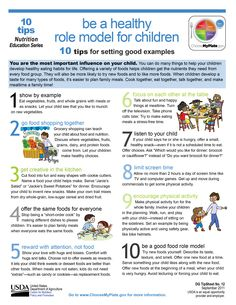 10 ways you can be a #healthy role model for children. #MyPlate #tipsheet #teachers #parents