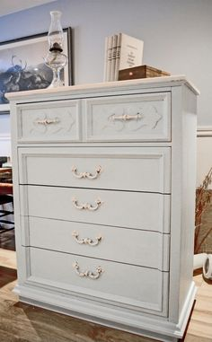 Commode 5 tiroirs shabby chic turquoise crème