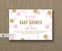 Blush Pink & Gold Baby Shower Invitation Girl Gold Glitter Pink Polka Dots Modern Baby Sprinkle Invite Printable or Printed- Leigh