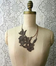 lace jewelry - lace necklace - BOTANIQUE - floral statement - muted olive. $32.00, via Etsy.
