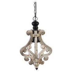 """Cast a stylish glow over your foyer or kitchen island with this elegant pendant, featuring a scrolling wood design and distressed finish.  Product: Pendant Construction Material: Wood and iron Color: White and black  Features:  62.9"""" Chain included Accommodates: (1) Bulb - not included  Dimensions: 20.9"""" H x 12.6"""" Diameter"""