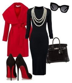 A fashion look from January 2016 featuring WithChic dresses, Keepsake the Label coats and Christian Louboutin pumps. Browse and shop related looks. Komplette Outfits, Classy Outfits, Fashion Outfits, Womens Fashion, Fashion 2018, Fashion Tips, Work Fashion, Fashion Looks, Fashion Beauty