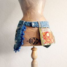 Upcycled Jeans Women's Hip Bag Pocket Utility Belt Boho Chic Clothing Eco Friendly Hippie Purse Gypsy Fanny Pack Bum Bag 'SONJA' by BrokenGhostClothing