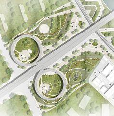 Linear Landscape Design Plan New Ideas Landscape Design Plans, Landscape Concept, Landscape Architecture Design, Architecture Plan, Urban Landscape, Masterplan Architecture, Landscape Edging, Landscape Quilts, Landscaping Design