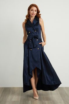 Glide through your next evening event with poise and style in this stunning sleeveless dress by Joseph Ribkoff. Fabulous Dresses, Beautiful Dresses, Ascot Outfits, Joseph Ribkoff Dresses, Absolutely Fabulous, October Wedding, Real Women, Party Dress, Navy Blue