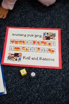 Great math tub activity ~ I think I'd use a Hundreds chart and have my kids add the sum of the dice and then remove the candy corn. Preschool Math, Math Classroom, Kindergarten Math, Fun Math, Math Games, Teaching Math, Math Activities, Maths, Classroom Ideas