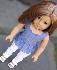 Peplum Top and Skinny White Jeans for American Girl AG Doll – Avanna Girl