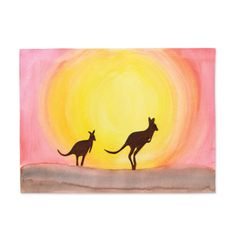What a beautiful Australian Outback sunset painting. Kids could paint the watercolour sky, and then stick on pre-cut kangaroo silhouettes. From Michaels Canada. Australian Art For Kids, Australian Animals, Aboriginal Culture, Aboriginal Art, Australia Crafts, Animal Silhouette, Silhouette Painting, Desert Art, Art Classroom