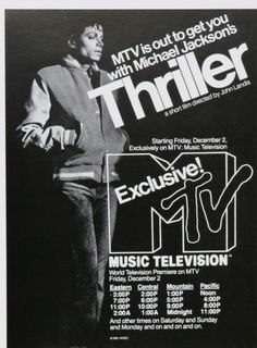 """Thriller"" on MTV, 1983.  I remember my entire family watching the world premiere video :)"