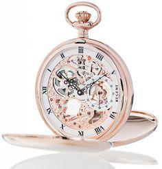 Regent Taschenuhr 31907 Rosé Skelett Handaufzug