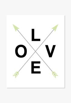 Love with crossed arrows text design