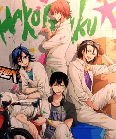 Image de Hayato Shinkai, Sangaku Manami, Toudou Jinpachi, Yasutomo Arakita de la série Yowamushi Pedal dessinée par Pixiv Id 11299306