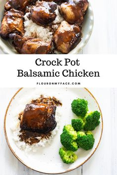 Swet and tangy Crock Pot Balsamic Chicken is so easy to make with only a few ingredients. Serve this moist and flavorful chicken dinner recipe over rice. Balsamic Chicken Thighs, Balsamic Chicken Recipes, Chicken Thigh Recipes, Chicken Flavors, Vinegar Chicken Marinade, Crock Pot Tacos, How To Cook Chicken, Crockpot Recipes, Cooker Recipes